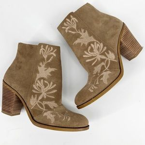 Lucky Brand Tan Suede Embroidered Ankle Bootie 8M